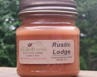 RUSTIC LODGE CANDLE - Apple, Woods, Fall, Autumn, Caramel Honey, Nuts, Cinnamon, Maple, Cider, Vanilla, Strong, Scented, Rustic Candle Decor