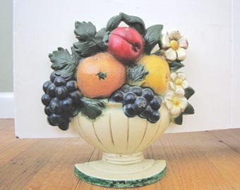 Vintage Cast Iron Doorstop John Wright Flower Basket Fruit Original Paint Door Stop from AllieEtCie
