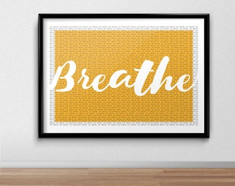 Just Breathe Print, Zen, Anxiety, Calm, Relaxing, Quote, bedroom Print, Yoga, Illustrated, Poster, Gift,  Present