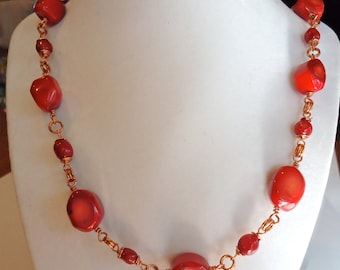 Red Coral and Copper Necklace