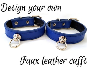 Faux/Vegan Leather [Made to Order] Simple Black/Pink/Blue/White/Silver/Gold/Red Punk Goth Alt Kitten/Pet Play DDLG BDSM Cuffs