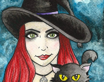 Original Art - Witch and her black cat - Watercolour Painting Postcard - Cat Kitten Wicca Magic Goth Gothic Fantasy Moon Night Sky Halloween