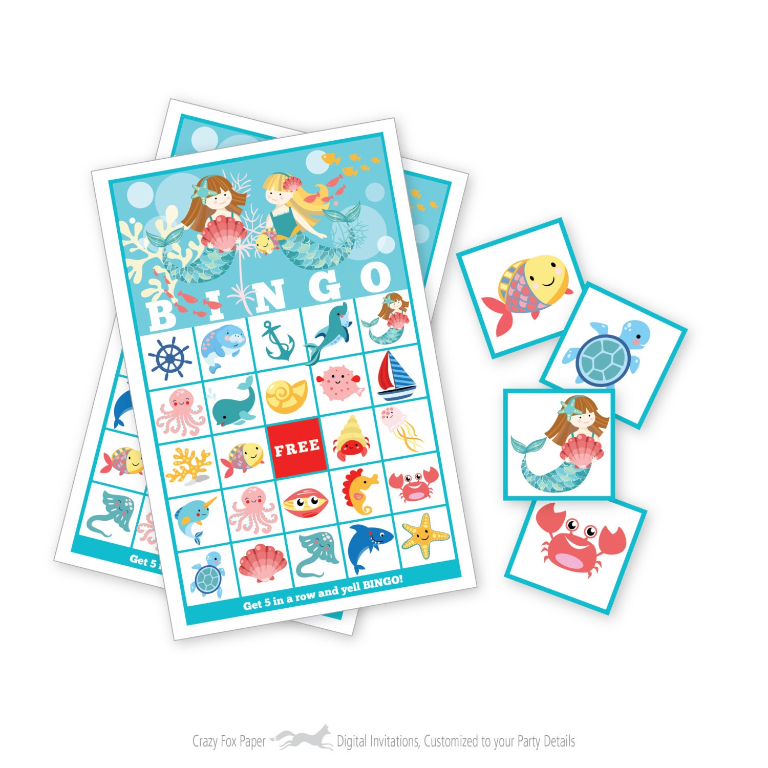 Mermaid BINGO Game Kid\'s Printable Bingo Game Bingo
