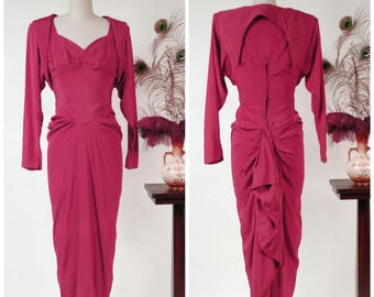 RESERVED Vintage 1940s Dress - Rare Exquisite Bold Fuchsia Draped Audree Gay 40s Cocktail Dress with INSANE Back BustleDrape