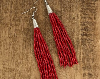 Beaded Tassel Earrings, Red, Tassel Earrings, Fringe Earrings, Statement Earrings, Long Earrings, Multistrand Earrings, Boho Jewelry