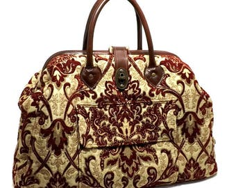 Large Mary Poppins Style Carpet Bag, Crimson Damask, Real Leather Accents, Outside Pocket, Twist Lock Clasp