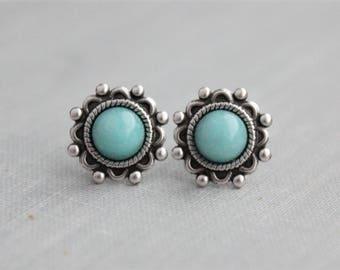 Aqua Quartz Stud Earrings. Gemstone Earrings. Turquoise Earrings