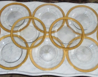 10 Antique Glass 8 5/8in Luncheon Plates w Etched Star & Decorative Gold Gilt Band Rim