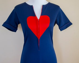 60s 70s Navy Heart Patch Romper Size Medium
