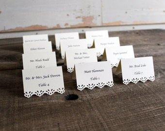 sand beige printed place cards for wedding, shower, party set of 100 - whimsy