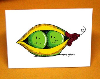 Peas in a Pod Blank Greeting Card w/ Astro Bright Envelope