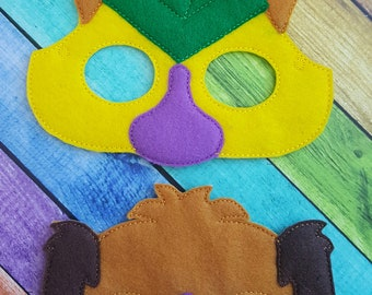 Dog and Cat Felt Masks * Birthday Parties * Party Favors * Playtime * Halloween * Child Dressup * Felt Masks