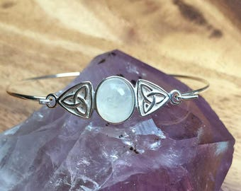 Moonstone Bracelet Moonstone Bangle Moonstone Jewellery Sterling Silver Bracelet 925 Silver Wedding Gift Birthday Gift Womens Gift STSB1