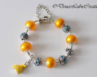 Bracelet à breloques Belle thème « La Belle et la bête »