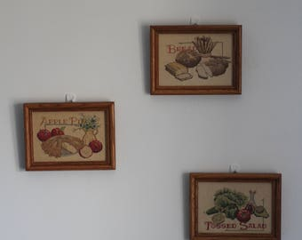 Three Vintage 80s Carol Wilson Mansfield Kitchen Cross Stitch Framed