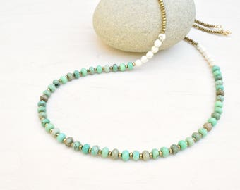 Agate necklace, Sea green necklace, Long beaded necklace, Agate jewelry, Minimalist necklace, Gold necklace, Gift for her, Gemstone necklace