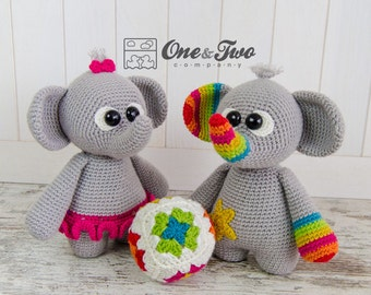 "Dash and Dot the Little Elephants ""Little Explorer Series"" Amigurumi - PDF Crochet Pattern - Instant Download - Amigurumi Cuddy Stuff"