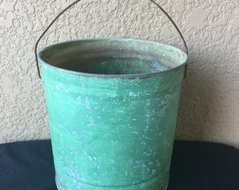 Vintage Green Chippy Paint Galvanized Bucket Made By Standard Can in Pittsburg, Pennsylvania