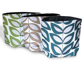 Reversible Fabric Storage Bucket -  Leaf Print