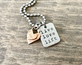 Live Love Lift, Weight Lifting Jewelry, Fitness Jewelry, Lifting Jewelry, Fitness Necklace, Competition Jewelry, Fitness Gift