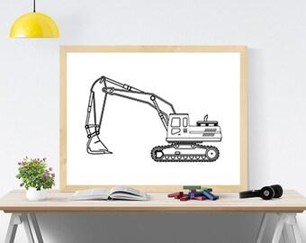 Excavator SVG digital Excavator print Engine digital Truck printable Kid poster Kids room decor Printable decor Boy room print Printable art