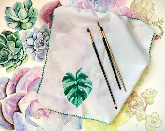 Monstera Leaf Painters Rag, Paint Cloth, Embroidery, Monstera Leaf Embroidery, Art Supplies, Watercolor Supplies, Hand Embroidery, Monstera