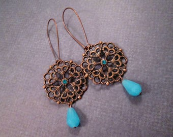 Long Drop Earrings, Filigree Pendants, Robins Egg Blue and Copper Dangle Earrings, FREE Shipping U.S.