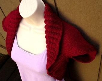 Cranberry Knit Shrug, size:Large  cranberry red bolero shrug knitted vest sweater wedding bridal evening prom cover-up
