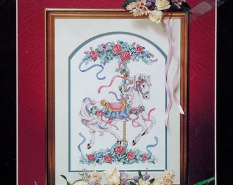 Cross Stitch Pattern | ROSE CAROUSEL | Dimensions | Toni Baley | Horse | Counted Cross Stitch Pattern | Cross Stitch | Leaflet