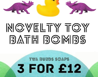 3 x Novelty Bath Bombs Rubber Duck and Dinosaur Toy Giant Bath Bomb 250g
