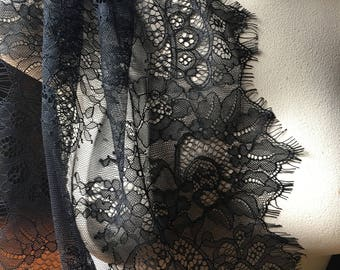 Chantilly Lace Wider Black for Shawls, Mantilla, Victorian Gowns,  Lingerie CH 2blSOFT