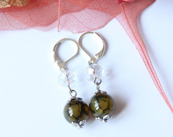 earring stone green agate and silver plated