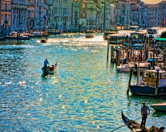 I Could Have Danced All Night - Venice, Italy - Fine art travel photography - cityscape, waterscape, canal, gondolas - blue, green, purple