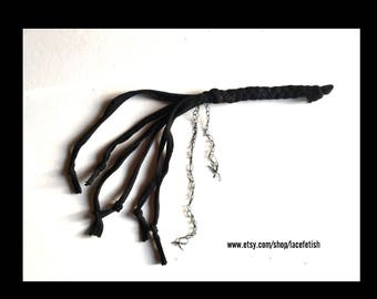 DOMINANT <black> kinky cotton, gentle spanking whip, quirt , great gift , fetish bdsm accessory.