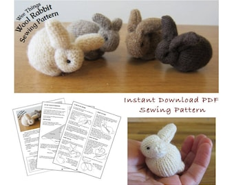 PDF Sewing Pattern for Up-cycled Wool Sweater Rabbits