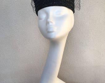 "Vintage black straw pillbox hat netting with ribbon bow sz 21.5"""