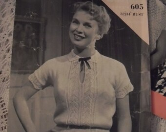Original Wendy knitting pattern No 605. Lady's Jumper. Vintage 1950s era
