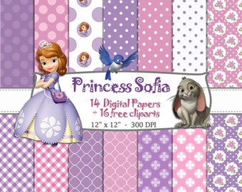14 PAPELES DIGITALES + 16 CLIPARTS Princesa sofia, cumleaños