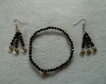 Earrings with black double cone beads with matching bracelet