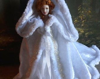 Dollhouse miniature wearable 1/12th scale hooded cloak. Wedding/ Fantasy/Fairy Queen/Princess