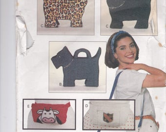 1990's Craft Sewing Pattern - Butterick 6679  Whimsical Bags, Dog, Cat, Frog, Fish - Factory Folded, Unused.
