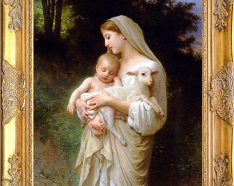 L'Innocence Art Print, Framed, Bouguereau, Print on Canvas, Madonna with Child and Lamb