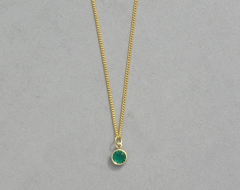 May Birthstone- Emerald Gold Plated Drop Necklace
