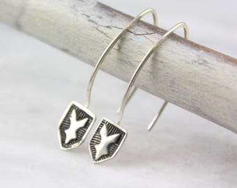 Stamped Royal Shield Silver Earrings