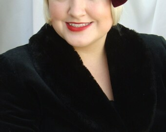 Burgundy/Maroon Velvet 1920s Cloche Hat, Great Gatsby and Downton Abbey Inspired