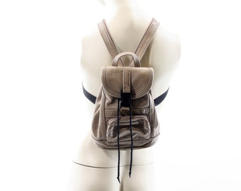 Vintage Tan Leather Petite Backpack