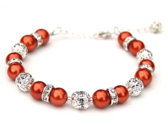 Burnt Orange Pearl Bracelet, Fall Colors Jewelry, Bridesmaid Jewelry, Bridesmaid Gifts, Fall Wedding, Orange Jewelry, Autumn Accessory