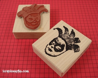 Carnival Mask Face Stamp / Invoke Arts Collage Rubber Stamps