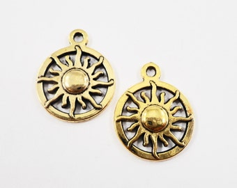 Gold Sun Charms 19x15mm Antique Gold Sun Pendants, Sunshine Charms, Metal Charms for Jewelry Making, Craft Supplies, 10pcs