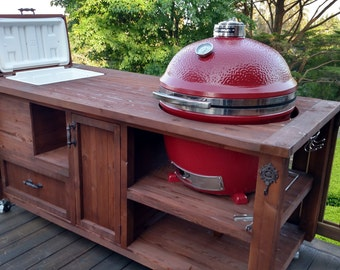 Grill Table Or Grill Cabinet For Big Green Egg, Kamado Joe, Primo, Gas